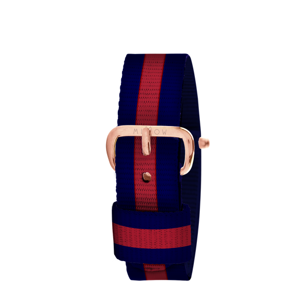 MILLOW PARIS - Stripe Red Strap - Rose Gold Buckle