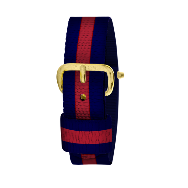 MILLOW PARIS - Stripe Red Strap - Yellow Gold Buckle