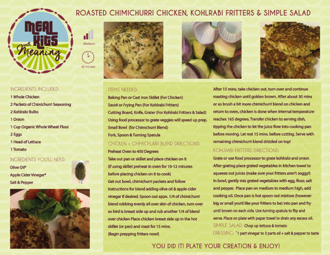 Meal kits with meaning recipes mor middle of the root week 3 recipe roasted chimichurri chicken kohlrabi fritters with simple salad dressing forumfinder Choice Image