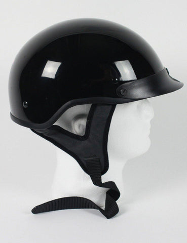 D.O.T Gloss Black Motorcycle Half Helmet