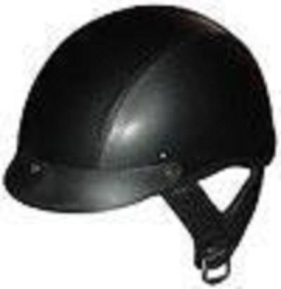 Dot Leather Shorty Motorcycle Helmet-100L-Large