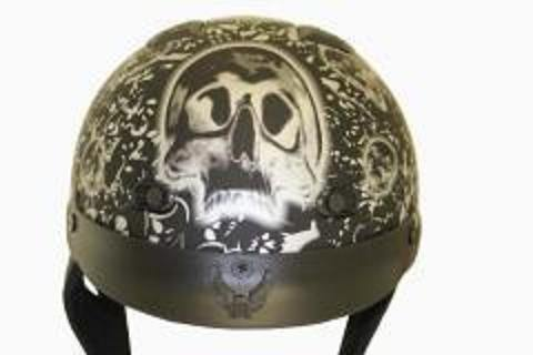 DOT Matte Bone Yard Black Motorcycle Helmet-S