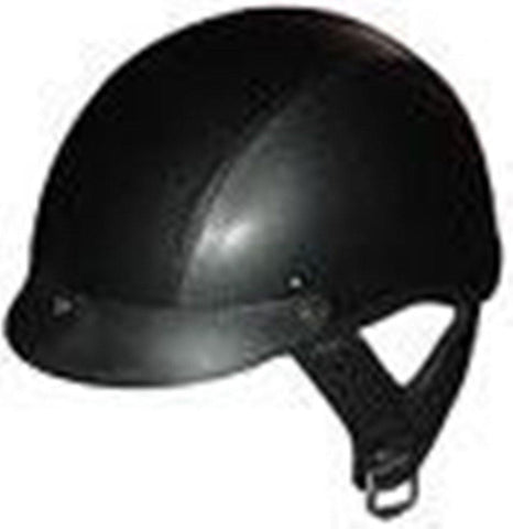 DOT LEATHER SHORTY MOTORCYCLE HELMET-100L-XS