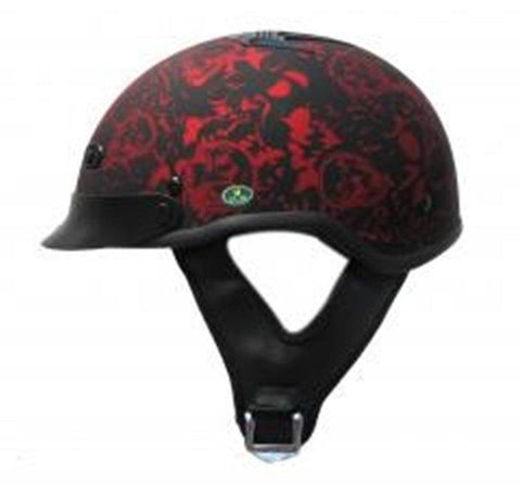 DOT Matte Bone Yard Red Motorcycle Helmet-XS