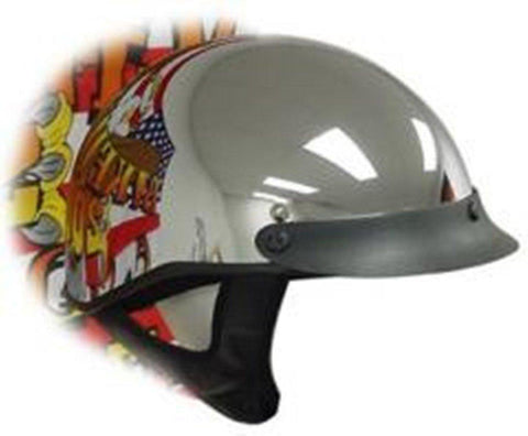 Dot Chrome Shorty Motorcycle Helmet-2X