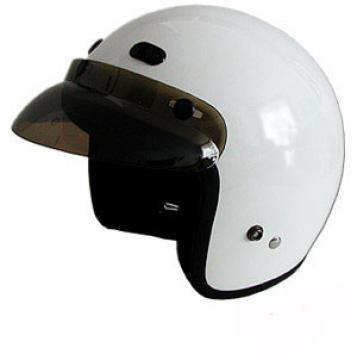 Dot White 3/4 Motorcycle Helmet