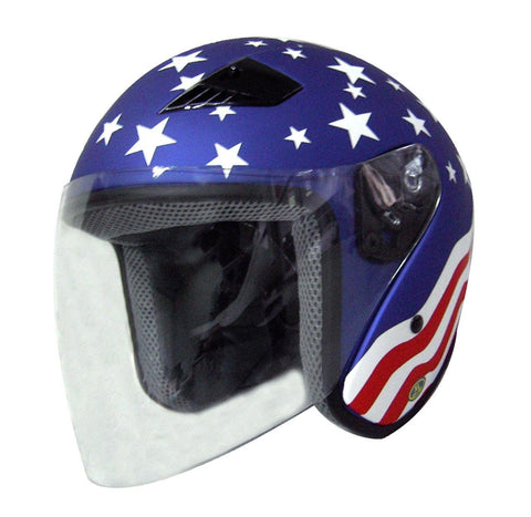 America DOT Motorcycle Helmet Open Face with Flip Shield