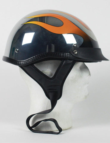 Chrome Flame Shorty Motorcycle Helmet