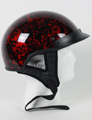 D.O.T Red Boneyard Motorcycle Half Helmet