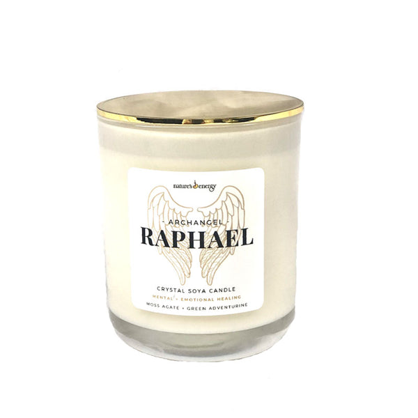 Archangel Raphael: Emotional Healing - Crystal Soy Candle: Moss Agate + Green Aventurine