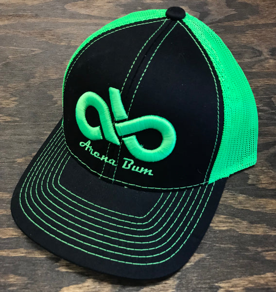 Black/ neon green mesh cap