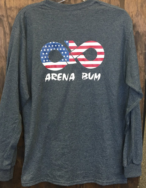 Dark heather grey american flag long sleeve