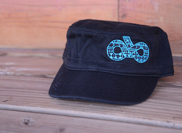 Black and turquoise aztec military cap