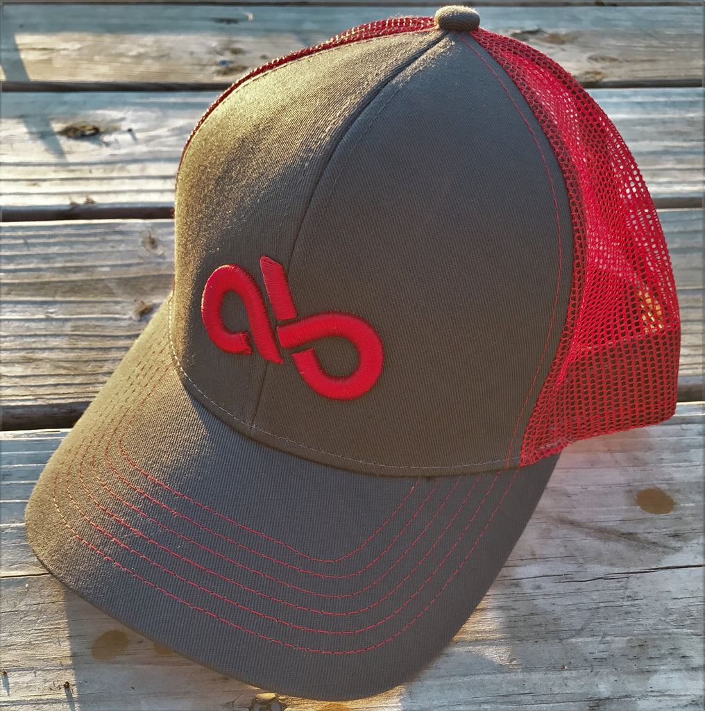 charcoal/red mesh snapback