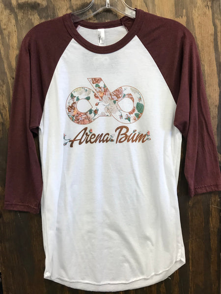 Maroon rose baseball tee