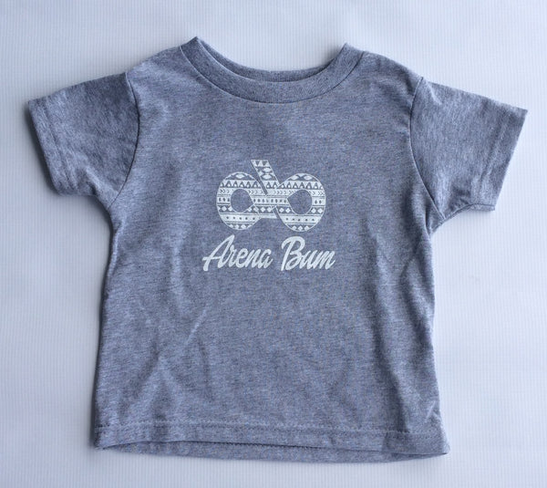 Toddler White And Grey aztec logo tee
