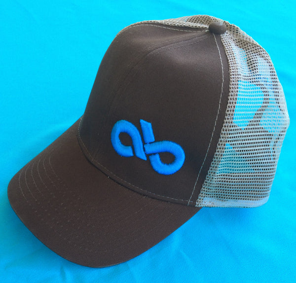 Brown and turquoise meshback cap