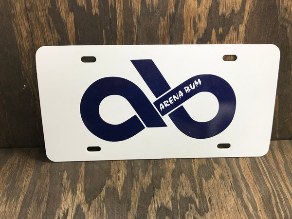 White & navy license plate