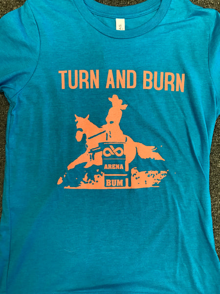 Youth Blue and Coral Turn and Burn tee