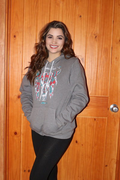 Grey steer head hoody