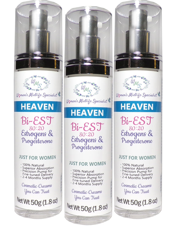 HEAVEN 3-Pack - BiEst USP & Progesterone USP in an All Natural Cream (Save $35.25 on 3-Pack) - 200 Pumps Per Bottle!