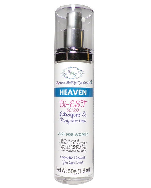HEAVEN - BiEst USP & Progesterone USP in an All Natural Cream - 200 Pumps Per Bottle!