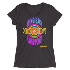 """Bring Back Flower Power"" #1 Ladies' Short Sleeve Tri-Blend Tee"