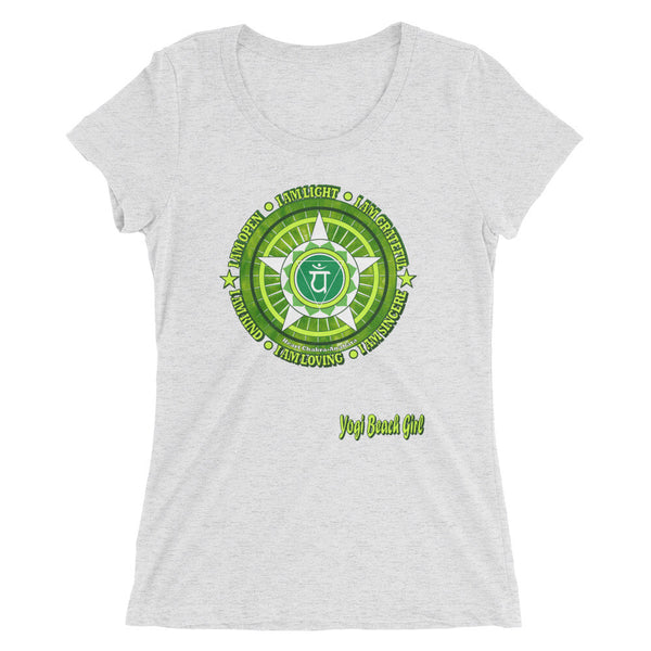 """Heart Chakra "" Ladies' Short Sleeve Tri-Blend Tee"