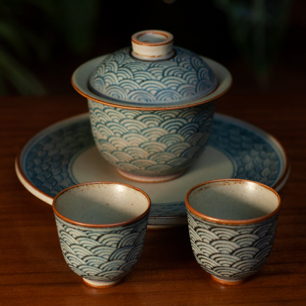 Hand Painted Wave Tea Set