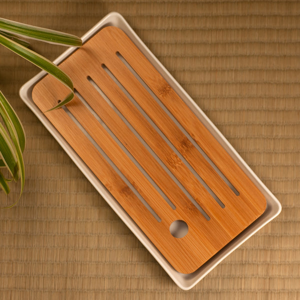 White Rectangle Bamboo Tray