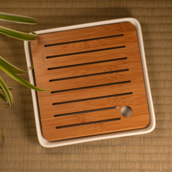 White Square Bamboo Tray