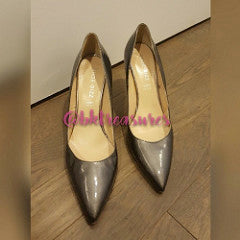 GREY PATENT LEATHER PUMPS - SALE