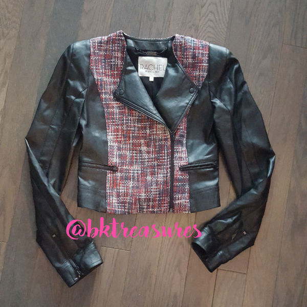 As Seen on TV! Rachel Roy Faux Leather & Tweed Jacket - SALE!