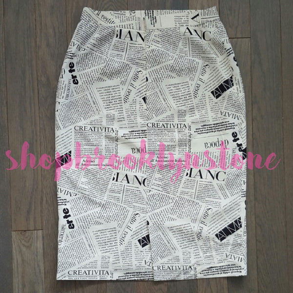 Newspaper Print Skirt - SOLD!