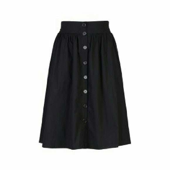 Black Poplin Button Up Midi Skirt - SALE!!