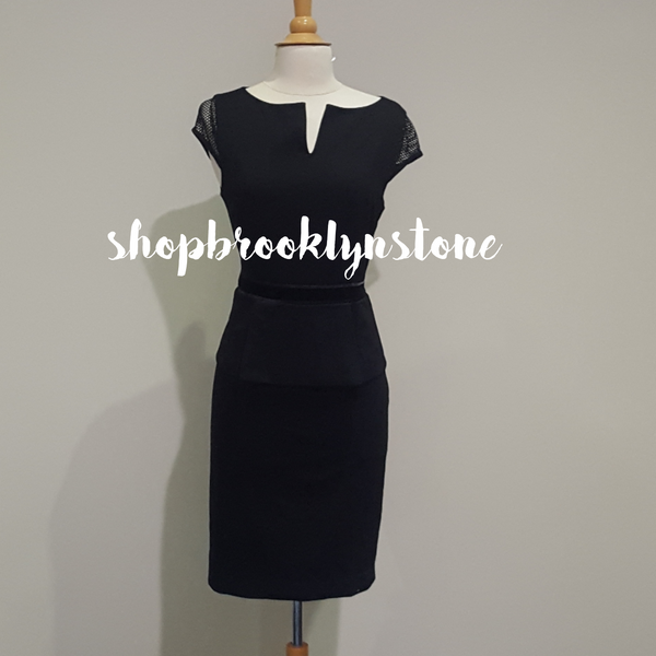 Black Short Sleeve Peplum Dress - SOLD!!