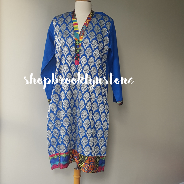 Blue & Gold Print Tunic - SALE!!