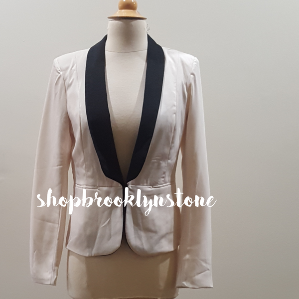 Cream Tux Style Jacket with Black Collar-SALE!!