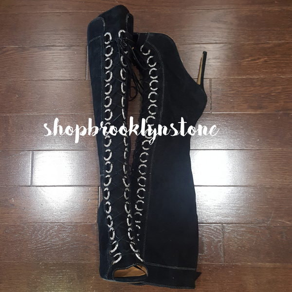 Badgley Mischka Peeptoe Knee Boots - SALE!!