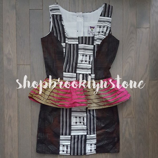 Boxing Kitten Print Peplum Dress - SALE!!