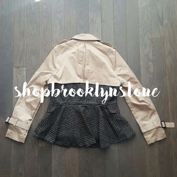 Peplum Mixed Media Trench Jacket - SOLD!