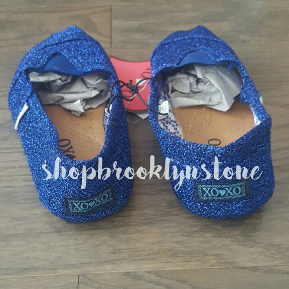 XOXO Sparkly Blue Slip Ons-SALE!!