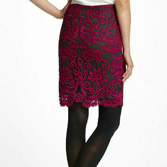 Yoana Baraschi Embroidered Lace Pencil Skirt-SOLD!!
