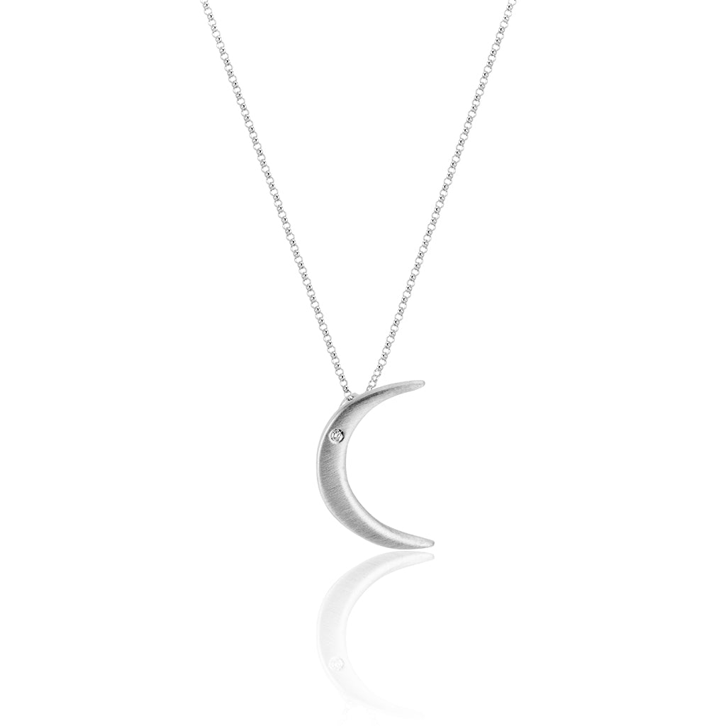 Tiny Brushed Silver Moon with North Star Diamond Necklace
