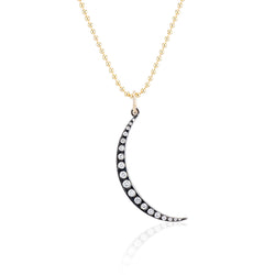 Cascading Diamond Crescent Moon Necklace