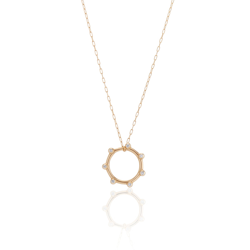 Gold Orbit Charm Necklace