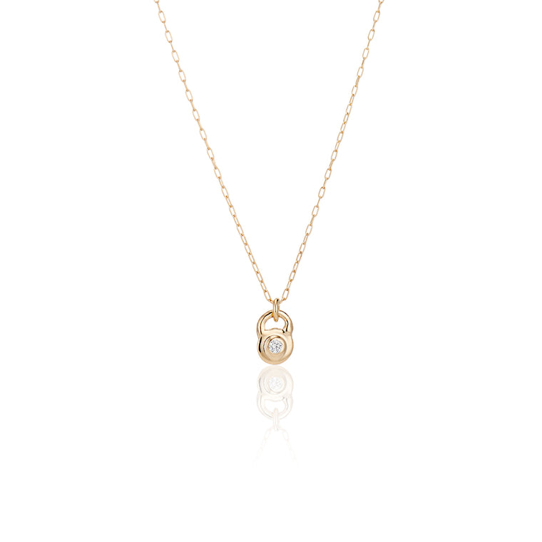 Gold Lock Charm Necklace
