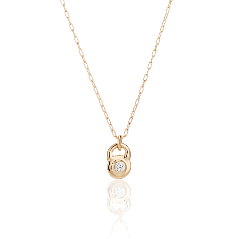 Diamond Lock Charm Necklace