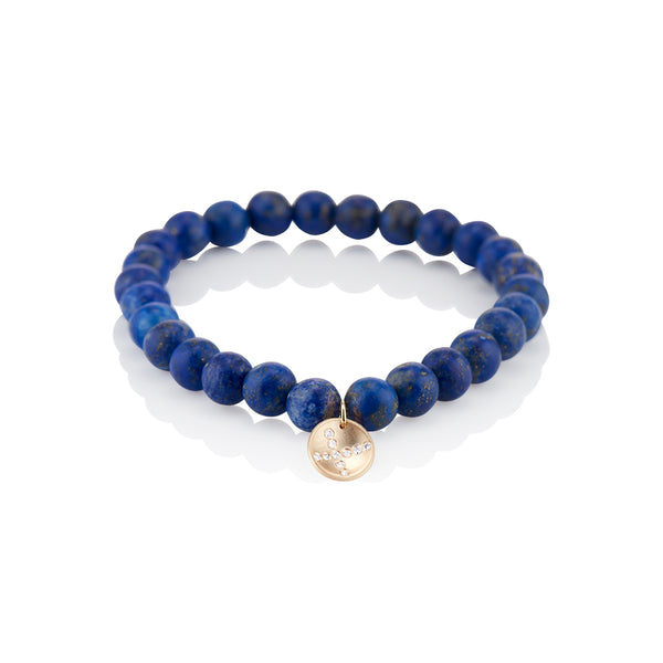 Blue Beaded X Disc Diamond Charm Bracelet