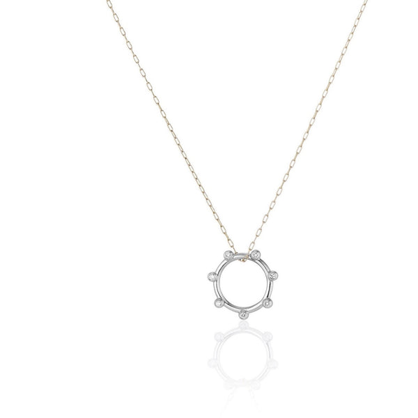 Bright White Orbit Charm Necklace
